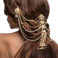 The RIZWANA HAIR BUN PIN  by Indiatrend. Shop Now at WWW.INDIATRENDSHOP.COM Western Hair Styles, Head Chain Jewelry, Indian Bridal Hairstyles, Wedding Hairstyles, Hair Ornaments, Gold Ornaments, Diamond Hair, Hair Chains, Hair Jewels