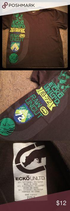 Ecko Unltd nice brown Tee with green design Nice clean great shape Shirts & Tops Tees - Short Sleeve