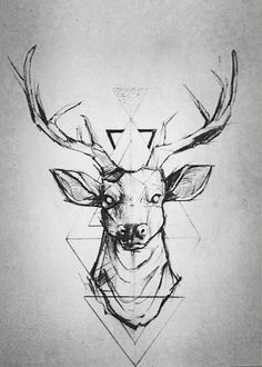 Geometric tattoos look pretty rad, want a deer tattoo so this tangles the two and looks pretty sweet! Future Tattoos, New Tattoos, Tatoos, Thigh Tattoos, Sleeve Tattoos, Cervo Tattoo, Hirsch Tattoos, Geometric Deer, Geometric Lines