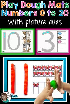 Play dough mats make for a perfect tactile teaching tool and activity to help younger learners practice and develop correct number formation, while working on their number ID and counting and making groups/sets of to 20.  Once laminated, these can also be used for tracing with your finger, or whiteboard marker and counters can be used to make sets.