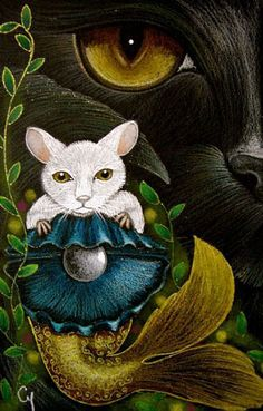 """""""Black Cat Mercat and Mermaid Mouse and New Pearl"""" par Cyra R. Cancel"""