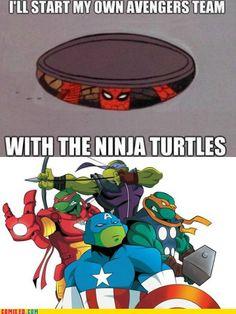 That leaves Spiderman as Black Widow or Hulk.....just a little awkward, either way.....…… New Avengers, Teenage Mutant Ninja Turtles, Batman Vs, Spiderman, Dc Comics, Fandoms, Tmnt 2012, Nerd Geek, Amazing Spider
