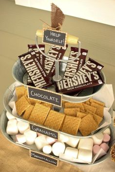 What a great idea for a summer BBQ or backyard party. A s'mores serving tray - great use of a tiered tray!