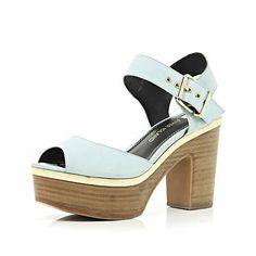 Light blue peep toe platform sandals £50.00