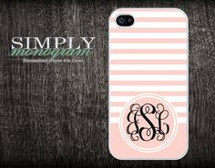 monogram iphone 4 case - iphone 4s case - plastic or silicone rubber - light pink. $16.99, via Etsy.