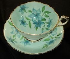 PARAGON ROYAL ENGLAND BLUE FLOWER SQUARE TEA CUP AND SAUCER
