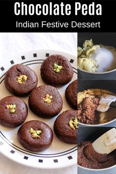 Chocolate peda recipe  - QUICK and EASY to make Diwali sweet or mithai. Only three ingredients are required to make this easy chocolate peda - Khoya, Cocoa powder and sugar. And it takes only 15 minutes to make this gorgeous looking sweet. Peda Recipe, Diwali Food, How To Make Chocolate, Dessert Recipes, Desserts, Something Sweet, 3 Ingredients, Quick Meals, Spice Things Up