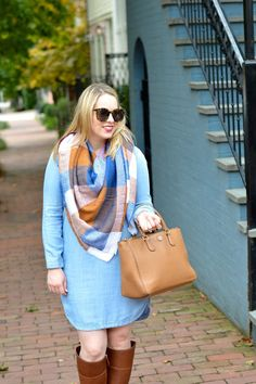 Blanket scarf and chambray dress.