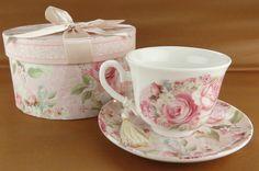 Taza de Porcelana rosas Vintage