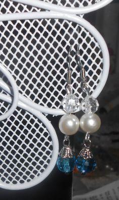 Handmade blue and white beaded dangle earrings