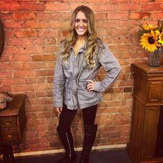 Grey Grunge Jacket $80.00  Shop online at: www.wanderlustmainstreet.com Visit and follow us on Instagram @wanderlustboutique1021