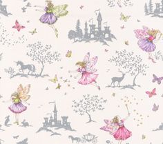 Fairyland (J149W-03) - Jane Churchill Wallpapers - A delightful fairy design, with pretty fairy characters, butterfly, star, tree, rabbit, unicorn and castle motifs create a fairy landscape, perfect for your little dreamer. Shown in soft colours with silver metallic motifs, on a cream background. Wide width. Please request sample for true colour match