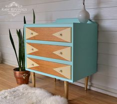 Retro Mid Century Aqua Chest of Drawers.  With geometric pastel yellow feature…
