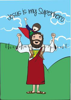 Jesus is My Superhero Kids Church Lessons, Sunday School Lessons, Hero Central Vbs, Bible Heroes, Hero Crafts, Christian Posters, Superhero Room, Kids Canvas, Religious Education