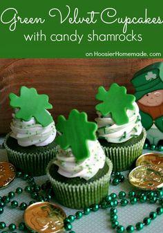 Green Velvet Cupcakes for St. Patrick's Day