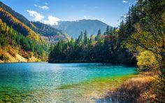 Download wallpapers Tibet, 4k, Jiuzhaigou National Park, autumn, forest, chinese landmarks, blue lake, Asia, China