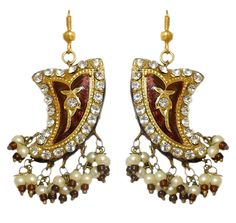 Stone Studded Dark Brown Dangle Lac Earrings (Lac, Bead and Stone)
