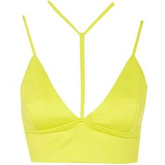 **Bandage Bralet Top by Oh My Love ($18) ❤ liked on Polyvore featuring tops, crop top, shirts, bralet, lime, bralette tops, white crop top, white shirt, lime green top and crop shirts