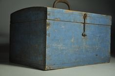 Grrreat antique 19th century primitive Blue painted box!!! Great dovetailing!!! 11 in high x 17.5 in long x 13 in wide.