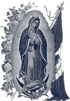 Risultato immagini per our lady of guadalupe tattoo black and white Tattoo Virgen, Mary Tattoo, Religious Photos, Religion, Mexico Art, Chicano Art, Chicano Drawings, Tattoo Drawings, Blessed Mother Mary