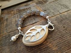 Bellabeat Leaf Accessory Grey stone bracelet stretch band with .925 Sterling Sil.... *** See more at the picture link
