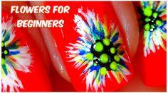 Easy FLOWERS nail art for BEGINNERS