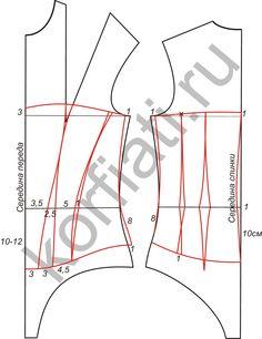 Выкройка корсета на косточках - чертеж