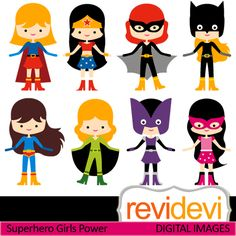Superhero girls cliparts. Girls in hero costume, so cute! These   digital images are  great for any craft and creative  projects.