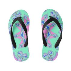 Abstract Colorful Symmetric Pattern Kid's Flip Flops Girls Flip Flops, Seafarer, Flipping, Keep It Cleaner, Beds, Slip On, Fancy, Colorful, Abstract