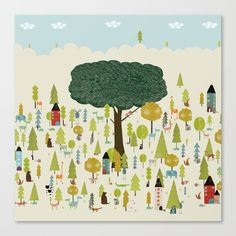 little nature wood ....colorful nature prints for childrens home decor