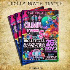 Trolls Movie Birthday Invitation - Trolls Movie Chalkboard Birthday Invite - Printable And Digital File