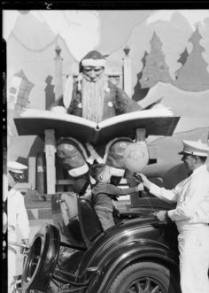 """Publicity at Shell Christmas station, Shell Oil Co., Southern California, 1930 [image 2] :: Publicity at Shell Christmas station, Shell Oil Co., Southern California, 1930 :: """"Dick"""" Whittington Photography Collection, 1924-1987. http://digitallibrary.usc.edu/cdm/ref/collection/p15799coll170/id/17212"""