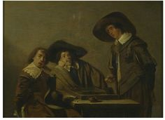 Three #backgammon players, two sitting, and one standing, at a table which holds the #backgammonboard, a clay pipe and smoking paraphenalia including a brazier and a paper with loose tobacco. Previously attributed to a follower of Anthonie Palamedes, this work appears closer to the style of his contemporary Pieter Codde (1599-1678). Codde was a Dutch painter and poet who worked primarily in #Amsterdam. He produced many #paintings with the theme of backgammon.