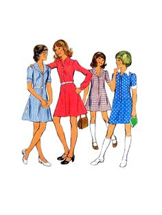 1 Vintage Sewing Pattern Illustration Looks like some dresses that I had made for me.Vintage Sewing Pattern Illustration Looks like some dresses that I had made for me. Vintage Dress Patterns, Clothing Patterns, Vintage Dresses, Vintage Outfits, Vintage Blouse, Moda Vintage, Vintage Girls, Vintage 70s, 1950s Fashion