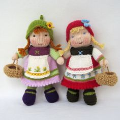 FERN and FLORA pdf email toy doll knitting pattern by dollytime