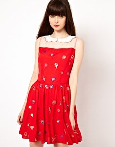 Nishe Dress with Balloon Print and Embroidered Collar, ASOS