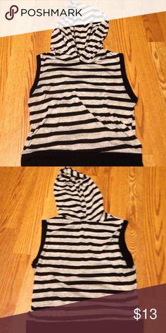 Sleeveless Striped Hoodie Shirt Black and white striped sleeveless cute new shirt Love Shirts & Tops Sweatshirts & Hoodies