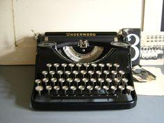 Antique Underwood JuniorPortable Typewriter by RollingHillsVintage