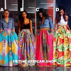 Long african wax print skirt. Can wear with chambray top, turtleneck, sweater, or a tee.