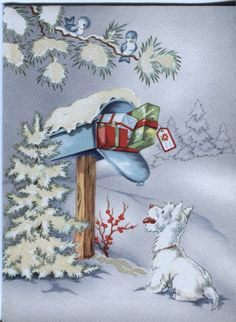 Vintage Christmas Card: Scottie at the Mailbox - Mica Glitter