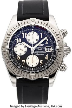 FOR A LIMITED TIME - Ends On 2017-10-24 17:50 (GMT) - Breitling Ref. A13356 Steel Chronomat Evolution Certified Chronometer. ... Breitling Ref. A13356 Steel Chronomat Evolution Certified Chronometer Case: three body, 44 mm, screw back, screw down crown and push buttons, sapphire crystal Dial: grey, steel Arabic numerals, stepped inner tachometer ring, date at three, silver sub dials for the seconds, thirty minute and twelve hour registers, luminous steel baton hands Movemen