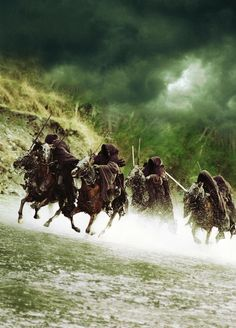 "The Nazgûl (The nine Dark Riders) arose as Sauron's most powerful servants in the Second Age of Middle-earth. They were once mortal Men, three being ""great lords"" of Númenor. Sauron gave each of them one of nine Rings of Power. Ultimately, however, they were bound to the One Ring, and succumbed completely to its power and its seduction:"