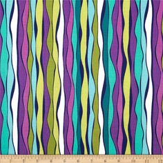 Michael Miller Daydream Ripple Effect Jewel from @fabricdotcom  Designed by Swirly Girl Designs for Michael Miller, this fabric is perfect for quilting, apparel and home décor accents. Each stripe is printed parallel to the selvedge as pictured. Colors include purple, lilac, lime, teal, turquoise, olive and lime.