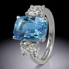 Cushion cut aquamarine and diamond ring by Simon Wright Rose Gold Engagement Ring, Designer Engagement Rings, Star Ring, Gems Jewelry, Eternity Ring, Ring Designs, Jewelry Collection, Vintage Jewelry, Cushion Cut