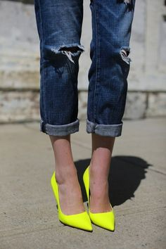 Gotta love a pair of chic neon pointed heels for any casual outfit or going out outfit