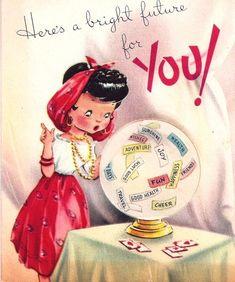 Vintage Birthday Card Gypsy Fortune Teller Crystal Ball.