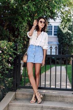 Laced top blouse with denim button front skirt