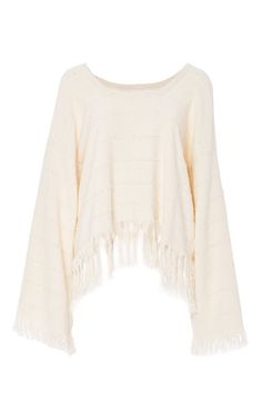This long sleeve **Apiece Apart** top is rendered in cotton and features a relaxed fit with a bateau neckline and a fringed hem.