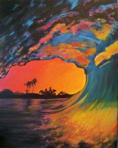 Original Acrylic Painting Pink Wave. $265.00, via Etsy.