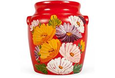 Hand Painted Mexican Clay Jar